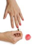 Palma con lo smalto per unghie Immagini Stock Libere da Diritti