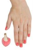 Palma con lo smalto per unghie Fotografia Stock