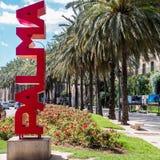 PALMA da palavra, feito de letras vermelhas fotos de stock royalty free
