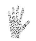 Palma de la mano compuesta de elementos del recorrido Imagen de archivo
