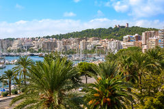 Palma de Majorca skyline with Bellver castle Stock Images