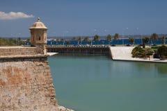 Palma De Majorca. View of a turret and gulf of Palma De Majorca Royalty Free Stock Photo