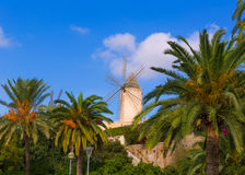 Palma de Majorca windmills wind mill in Mallorca Stock Images