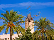 Palma de Majorca windmills wind mill in Mallorca Royalty Free Stock Images