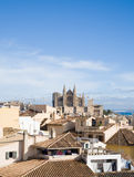 Palma de Mallorca. View over the rooftops; from the old city walls towars the cathedral La Seu; vertical format Stock Photos