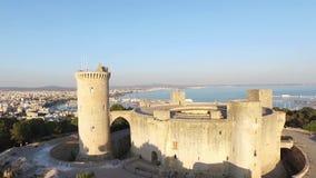 Palma de Mallorca aerial footage over Bellver Castle, back stock footage