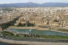 Palma de mallorca. Aerial view from Palma de MAllorca city, main city of the Balearic Spanish islands. View from 300ft and from the south seaside over the bay of Stock Image