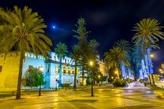 Palma de Mallorca alla plaza de Major Majorca Spain di notte Fotografia Stock Libera da Diritti