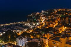 Palma de Mallorca bij nacht Royalty-vrije Stock Afbeeldingen