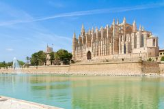 Palma de Mallorca Cathedral and Almudaina Royal Palace panoramic. Famous historic Palma de Mallorca La Seu Cathedral and Almudaina Palace panoramic view Royalty Free Stock Photography