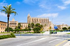 Palma de Mallorca Cathedral and Almudaina Royal Palace panoramic. Famous historic Palma de Mallorca La Seu Cathedral and Almudaina Palace panoramic view Royalty Free Stock Image
