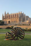 Palma de Mallorca cathedral. The astonishing cathedral of Palma de Mallorca (Spain) decorated with a helmet on the gardens Stock Images