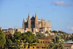Palma de Mallorca. Cathedral La Seu towers over the rooftops of the old town. Palma de Mallorca. Mallorca, Balearic island, Spain Royalty Free Stock Images