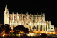 Palma de Mallorca cathedral by night. Gothic cathedral of Palma de Mallorca by night, Spain Royalty Free Stock Photography