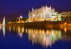 Palma de Mallorca Cathedral Seu solnedgång Majorca Royaltyfri Foto