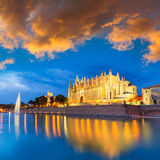 Palma de Mallorca Cathedral Seu sunset Majorca. Palma de Mallorca Cathedral Seu sunset in Majorca Balearic islands of Spain Stock Photos