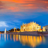 Palma de Mallorca Cathedral Seu sunset Majorca. Palma de Mallorca Cathedral Seu sunset in Majorca Balearic islands of Spain Royalty Free Stock Photography