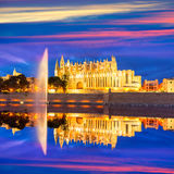 Palma de Mallorca Cathedral Seu sunset Majorca. Palma de Mallorca Cathedral Seu sunset in Majorca Balearic islands of Spain Royalty Free Stock Image