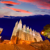 Palma de Mallorca Cathedral Seu sunset Majorca. Palma de Mallorca Cathedral Seu sunset in Majorca Balearic islands of Spain Stock Photo