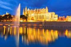 Palma de Mallorca Cathedral Seu sunset Majorca Stock Photo