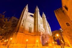 Palma de Mallorca Cathedral Seu sunset Majorca Stock Images