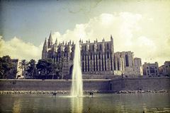 Palma de Mallorca Cathedral, Spain. Vintage photo of  Palma de Mallorca Cathedral, Spain Royalty Free Stock Photo
