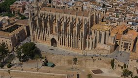 Palma de mallorca cathedral tourist attraction the most famous church. Aerial video footage. Architecture of palma de mallorca cathedral tourist attraction the stock footage