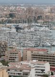 Palma de mallorca crowded port view from Bellver hill vertical. The port city of Palma de Mallorca view from nearby hill of Bellver. Local government will avoid Royalty Free Stock Photo