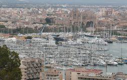 Palma de mallorca density view. The city of Palma de Mallorca and sea port view from nearby hill of Bellver. Local government will avoid touristic housing Stock Photography