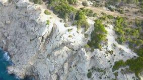 Palma de Mallorca, Espanha de Majorca, penhascos, metragem do zangão, vista aérea, vista alta-acima filme