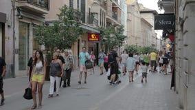 Palma de Mallorca, het Winkelen straat stock footage