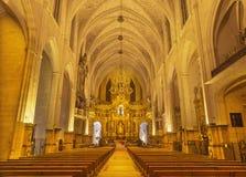PALMA DE MALLORCA HISZPANIA, STYCZEŃ, - 28, 2019: Nave Convento de San Francisco kościół zdjęcie stock