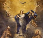 PALMA DE MALLORCA HISZPANIA, STYCZEŃ, - 29, 2019: Obraz Niepokalany poczęcie w Capuchin kościół Joan Muntaner Cladera zdjęcia royalty free