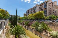 Palma de Mallorca, at home. Palma de Mallorca, houses on the background of a road and trees. Palma de Mallorca, at home royalty free stock images