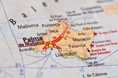 Palma de mallorca Island. Closeup image of Palma de Mallorca Island on vintage map Stock Photos