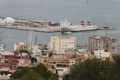 Palma de mallorca port cargo docking area view. The cargo port of Palma de Mallorca view from nearby hill of Bellver. Local government will avoid touristic Royalty Free Stock Photography