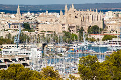 Palma de Mallorca port. And Cathedral La Seu, view from Belver castle, Mallorca, Balearic island, Spain Stock Images