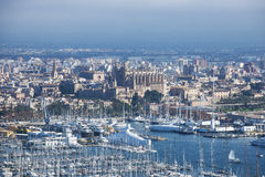 Palma de Mallorca Port: Harbour and cathedral. View from bellver castle Stock Images