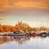 Palma de Mallorca port marina Majorca Cathedral. Palma de Mallorca port marina in Majorca with Cathedral church Balearic Islands Royalty Free Stock Image