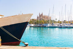 Palma de Mallorca port marina Majorca Cathedral Royalty Free Stock Images