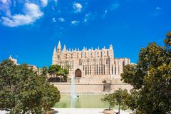 Palma de Mallorca, Port Marina Majorca Cathedral. Spain Royalty Free Stock Image