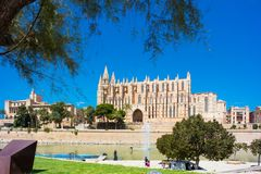 Palma de Mallorca, Port Marina Majorca Cathedral. Spain Stock Photography