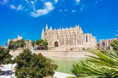 Palma de Mallorca, Port Marina Majorca Cathedral. Spain Royalty Free Stock Images
