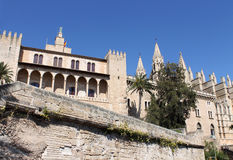 Palma de Mallorca, the royal palace of Almudaina and La Seu Stock Photo