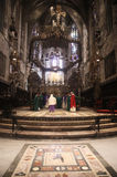 Palma de Mallorca´s cathedral main altar and mosaic Royalty Free Stock Images