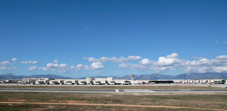 Palma de mallorca side view Airport. Palma de Majorca Son Sant Joan side view airport, in the Spanish Balearic island of Mallorca, Spain Royalty Free Stock Photo