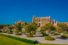 PALMA DE MALLORCA, SPAIN - AUGUST 18 2017: Beautiful view of Cathedral of Santa Maria of Palma La Seu in a gorgeous blue Royalty Free Stock Photo