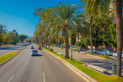 PALMA DE MALLORCA, SPAIN - AUGUST 18 2017: Cars on a road in a beautiful blue sky, in Palma de Mallorca, Spain.  Stock Photography