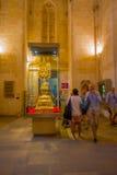 PALMA DE MALLORCA, SPAIN - AUGUST 18 2017: Interior view of Cathedral of Santa Maria of Palma La Seu in Palma de. Mallorca, Spain Stock Images