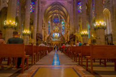 PALMA DE MALLORCA, SPAIN - AUGUST 18 2017: Interior view of Cathedral of Santa Maria of Palma La Seu in Palma de Stock Photo
